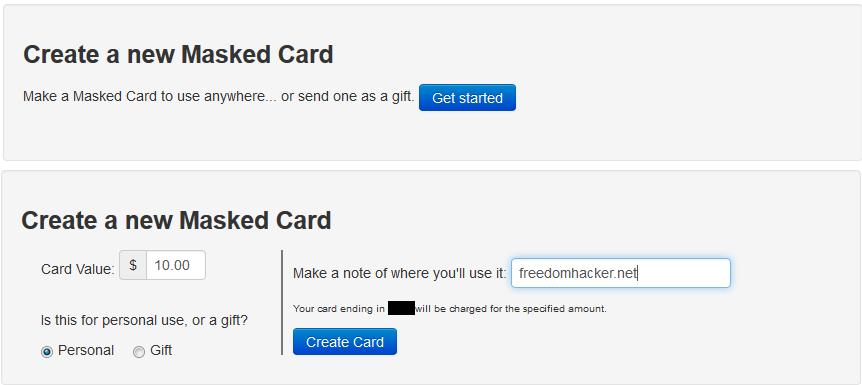 Mask Me Premium creating masked cards, Freedom Hacker