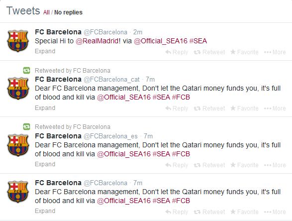 FC Barecelona Syrian Electrnoic Army Tweets, Freedom Hacker