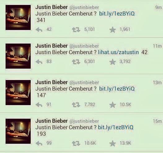 Justin Bieber Malicious Tweets, Freedom Hacker