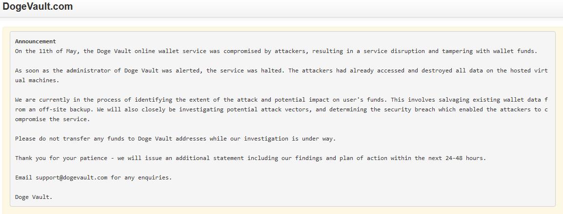 Doge Vault Hacked Public Statement