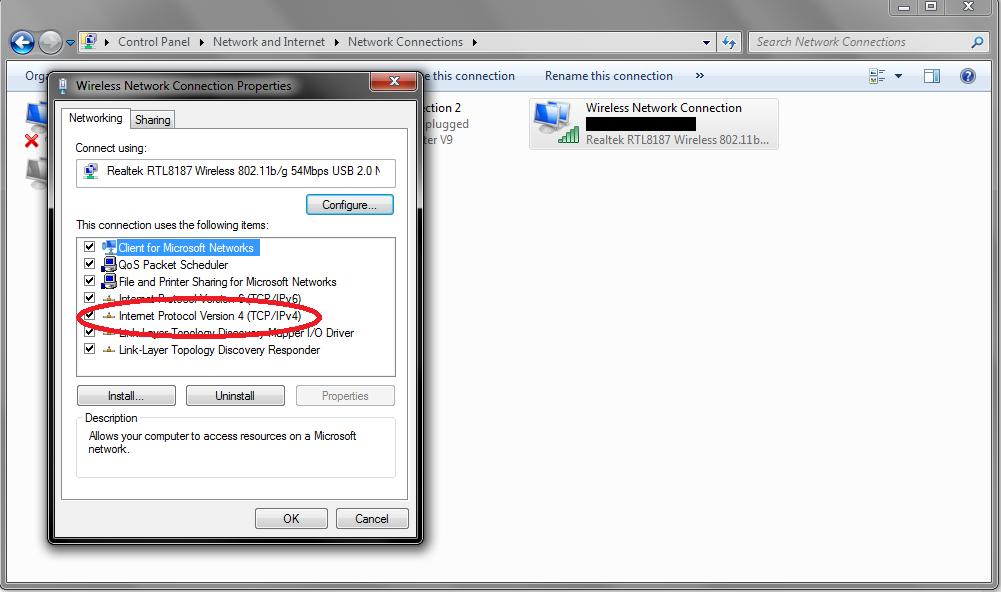 Windows Network Properties DNS