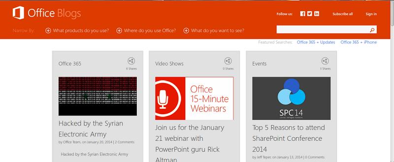 Microsoft Office Blog hacked by #SEA, Freedom Hacker