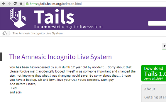 Tails Operating System Website Hacked and Defaced by 17 Year Old, Freedom Hacker